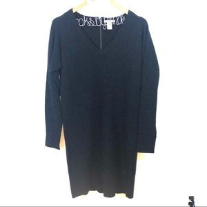 White + Warren Black Cashmere Sweater Dress S